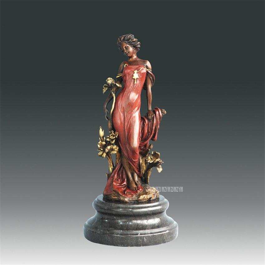 Figure Home Furnishing Bronze Decor Beautiful Flora Goddess Statue Girl Bronze Copper Sculpture Crafts Hotel Statue Modern Art