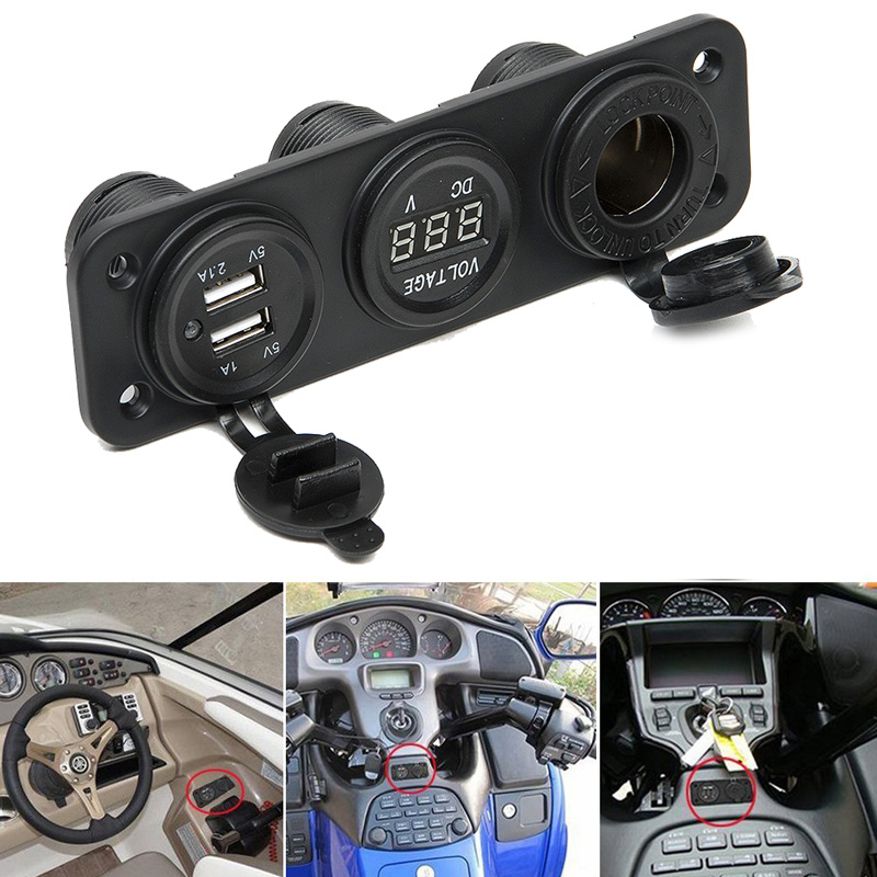 Car Charger Motorcycle Plug Dual USB Adaptor + 12V / 24V Cigarette Lighter Socket Blue LED + Digital Voltmeter Mobile Phone
