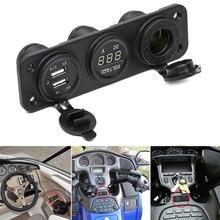 Cargador de coche enchufe de motocicleta adaptador USB Dual + 12 V/24 V encendedor enchufe azul LED + voltímetro Digital teléfono móvil