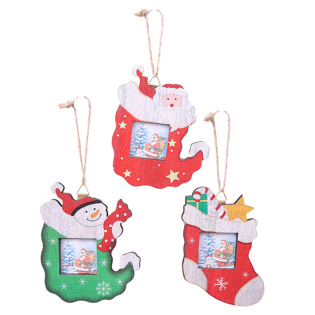 Wooden Christmas Gift 3535cm Photo Frame Picture Holder Santa