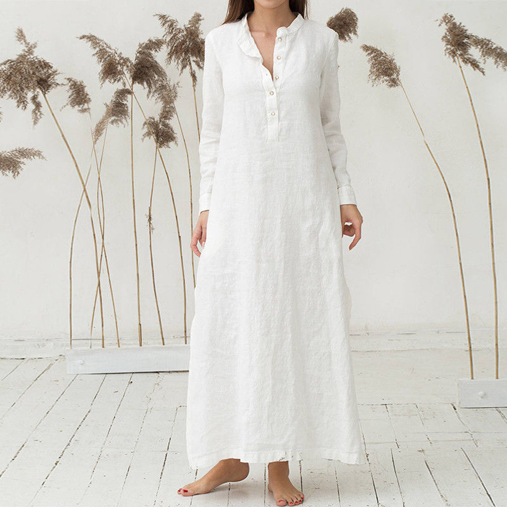 buy online 70366 349fa Vetement femme 2019 frauen Kaftan Baumwolle Langarm Plain casual Übergroßen  Maxi Lange Hemd Kleid 3XL robe femme