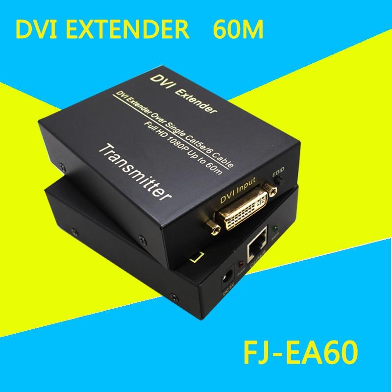 FJ-EA60 DVI to UTP Extender Full HD Video 1080p 60m DVI-D Extender Over Single Cat6 Cable
