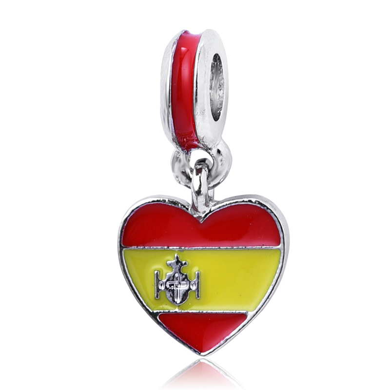 1PC New Spain Flag Heart Hanging Pendants Silver Plated Dangle Charms beads Fit Pandora Charm berloque Bracelet