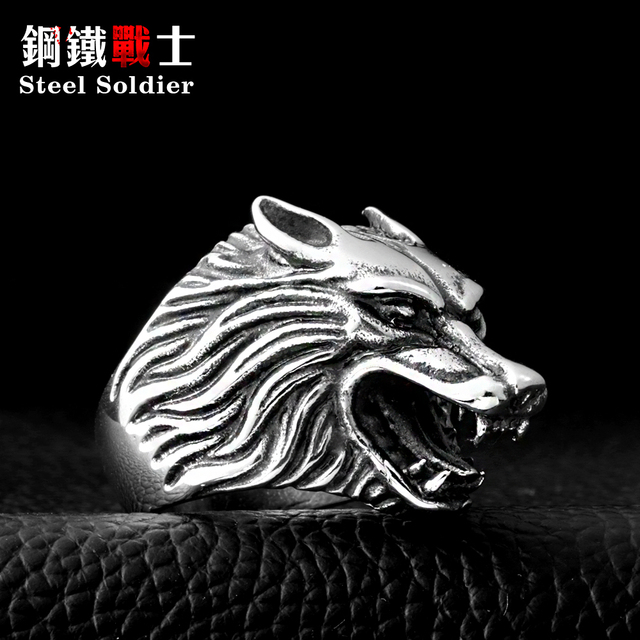 Steel soldier Drop Ship Fashion Jewelry Super Cool Wolf Rings Stainless Steel Pu