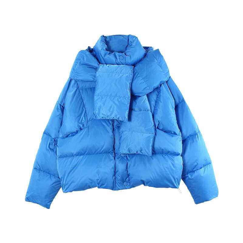 Toyouth New Loose Women Down Coats Long Sleeve Warm Slim Coat Detachable Female Outwear Hooded Short Duck Down Jackets Winterjas