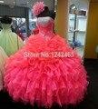 Puffy Strapless Modern vestidos Quinceanera Two Tone em camadas babados de Organza doce 16 vestidos de baile com frisos QM174