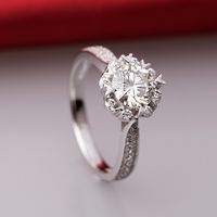 1 Carat SONA Synthetic Fashion Ring 925 Sterling Silver Pt950 High Simulation Ring Heart Shaped Ring