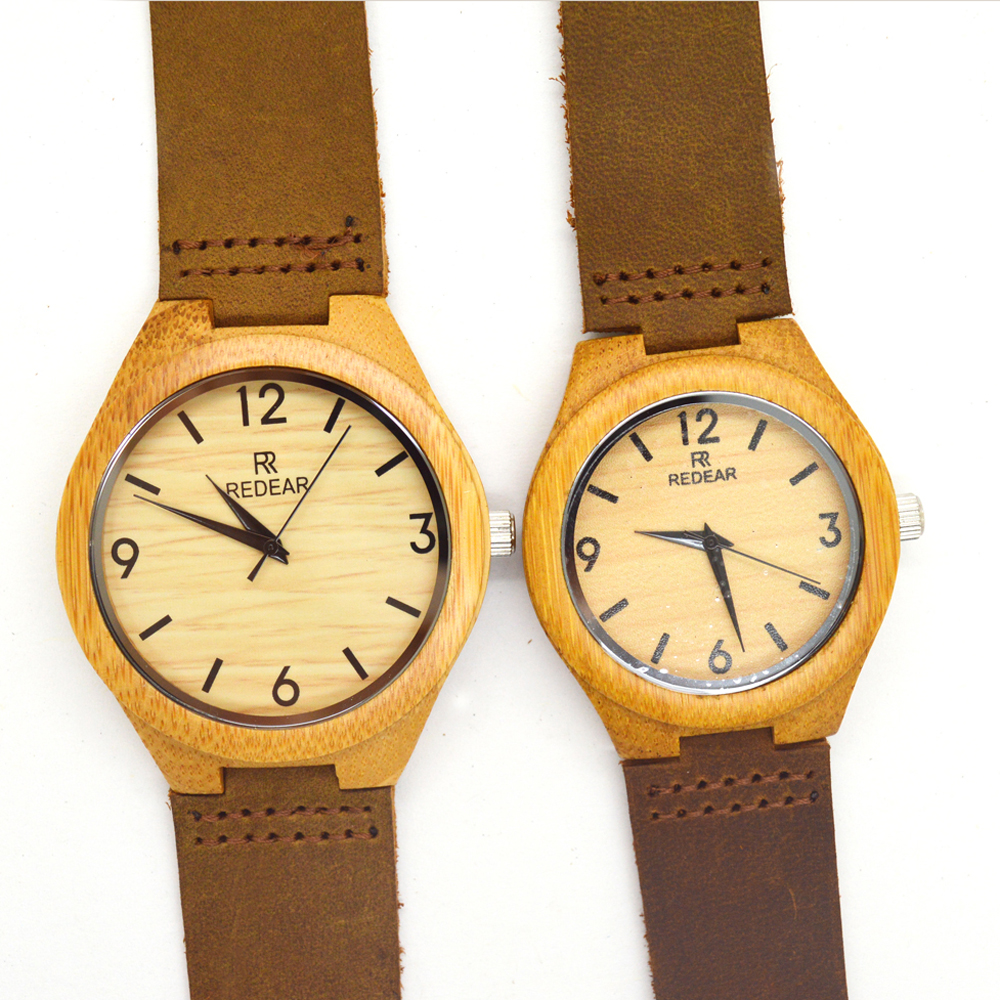 Permalink to 2016 wholesale high end handmade natural wood bamboo watches leather straps analog watches men and women lover's watch