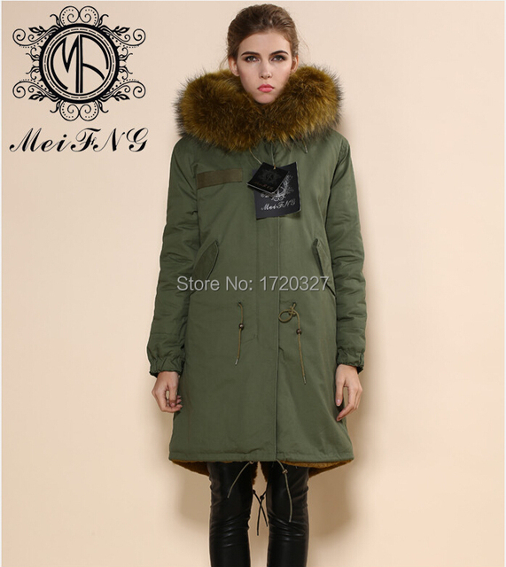 bc16cf413d9 2016 latest design winter fur dress cotton shell army green fur coat green  lining korean style coat M002-09