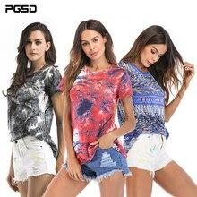 PGSD Fashion Big size women clothes Spring summer medium Long printed elastic short sleeved O-Neck T-shirt Pullover Tee female цена