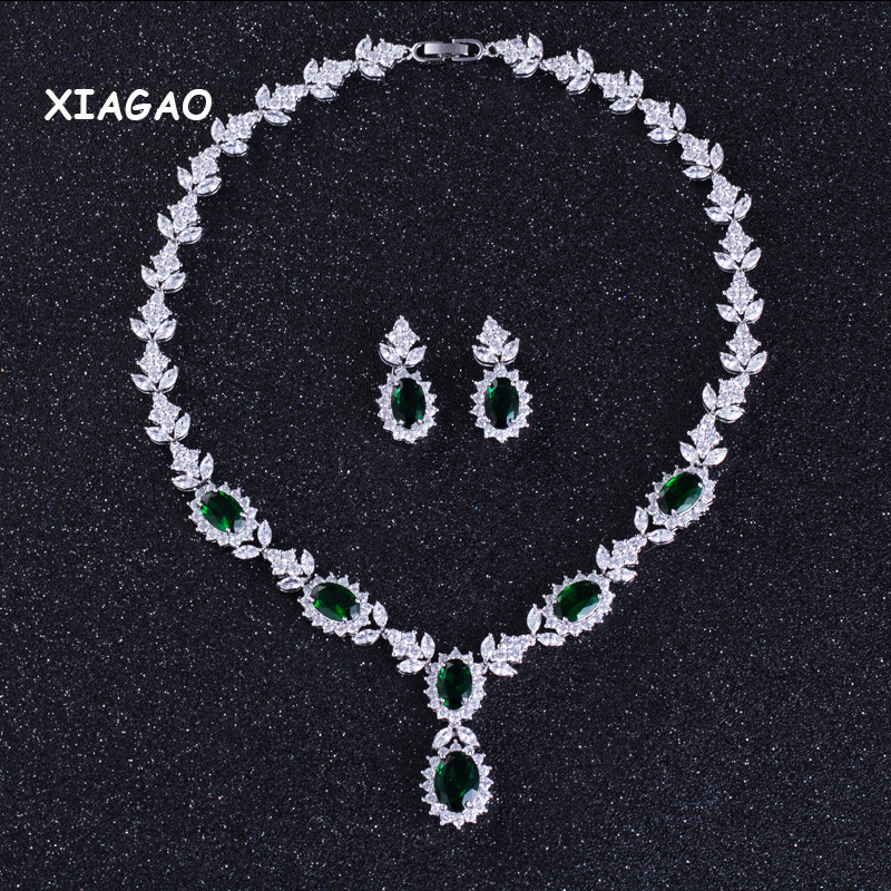 XIAGAO Wedding Evening Party Jewelry ! Luxury Cubic Zirconia Crystal Green Necklace and Earrings Jewelry Set For Women classical malachite green round shell simulated pearl abacus crystal 7 rows necklace earrings women ceremony jewelry set b1303