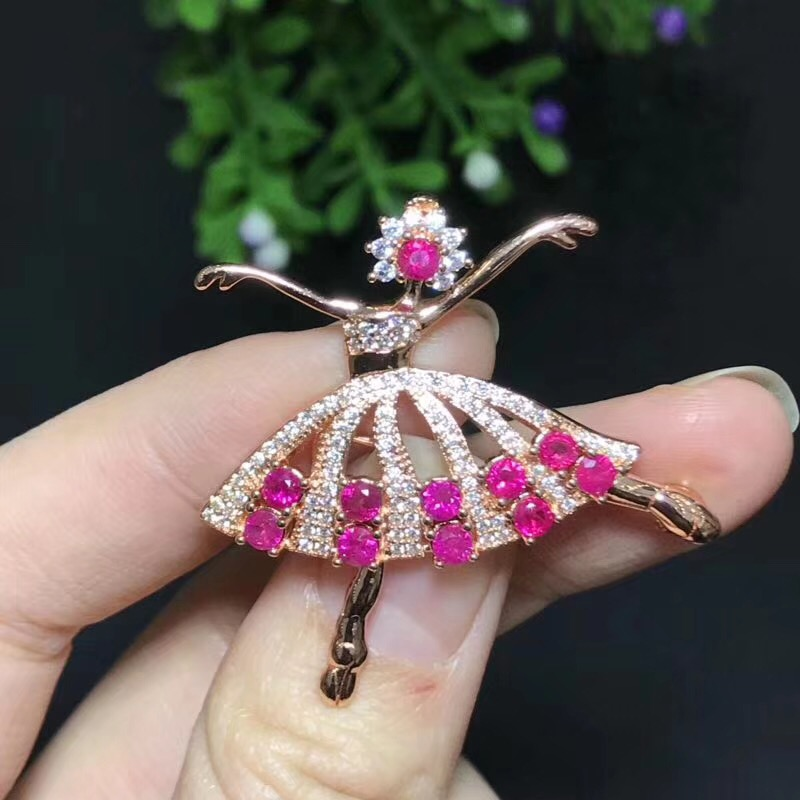 Dancing Girl Ruby brooch Free shipping Natural real Ruby 925 sterling silver brooch