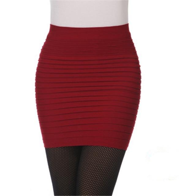 Summer High Waist Elastic Pleated Skinny Mini Skirt