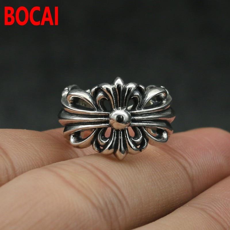 925silver ring finger female hip hop Street trendsetter Wu Yifan with silver cross male flower ring