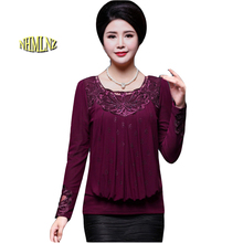 Large size T – shirt 2017 Winter Middle – aged Women New Fashion Slim Long – sleeved Pure color Women T – shirt XL-6XL OK188
