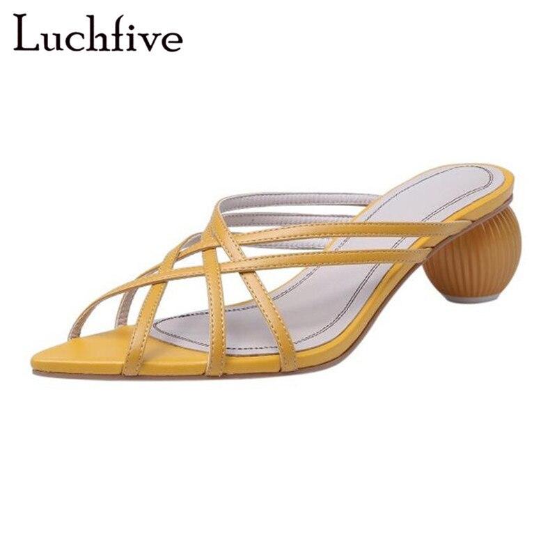 Balle talon découpes jaune femmes pantoufles Sexy mince ceintures Peep Toe Runaway diapositives chaussures d'été De mode Zapatos De Mujer
