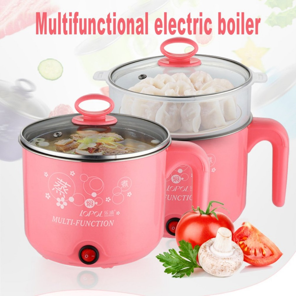 Cute 1.8L 450W Multifunction Electric Cooker Stainless Steel Steamer Hot Pot Noodles Pots Rice Cooker Steamed Eggs Pan Soup Pots multifunction electric skillet stainless steel hot pot noodles rice cooker steamed egg steamer soup pot for students dormitory