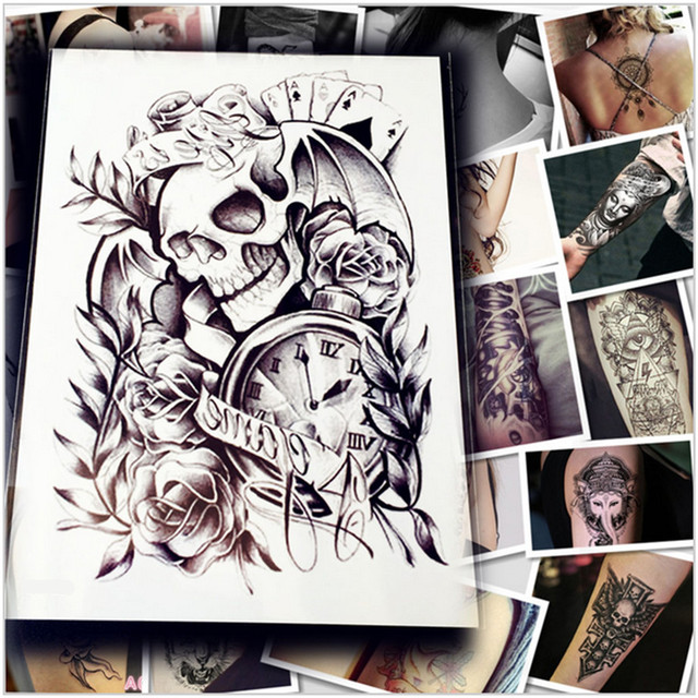 f55912d18083f 5pc Makeup Old Clock Temporary Tattoo Stickers Death Skull Punk Rose Tattoo  For Men / Body Arm Sleeve Adhesive Fake Henna Tattoo