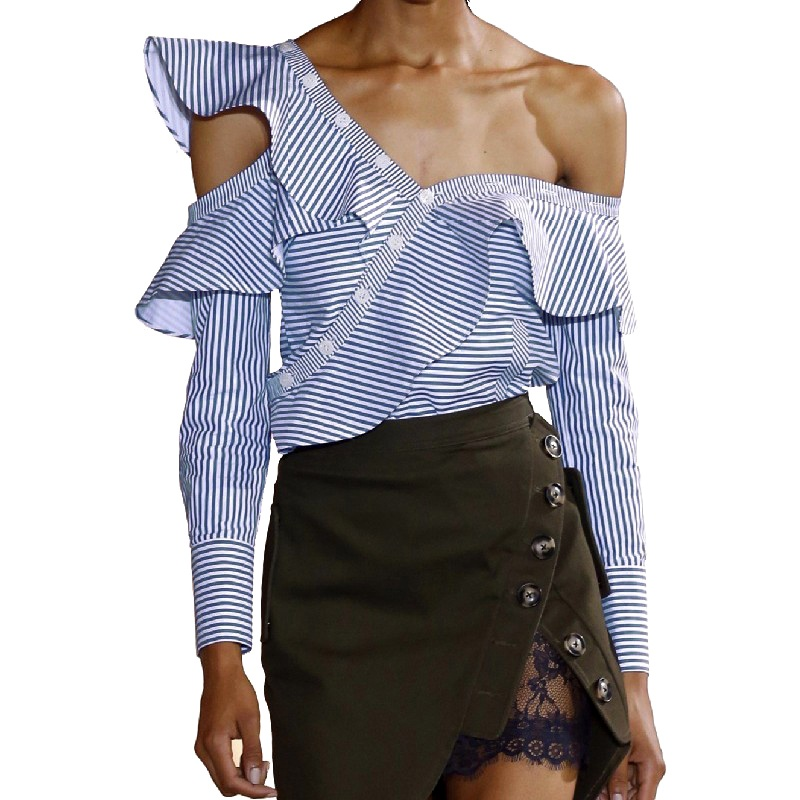 New Women One Shoulder Off Ruffles Blouse Tops Spring Casual Blue White Striped Shirts Long Sleeve Costume