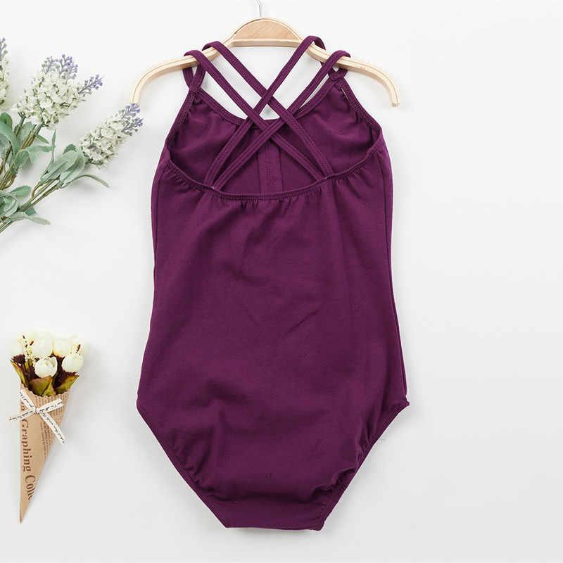 5 สีผ้าฝ้าย Camisole บัลเล่ต์ Leotards สำหรับสาวบัลเล่ต์เต้นรำ Dancewear ยิมนาสติก Leotard สายสำหรับ 100-155 ซม.XC-3210