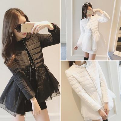 2016 Nova Moda Inverno Mulheres Casaco Fino Coletar Soletrar Roupas Para Baixo Algodão-acolchoado Jacket Casacos Casacos 9325