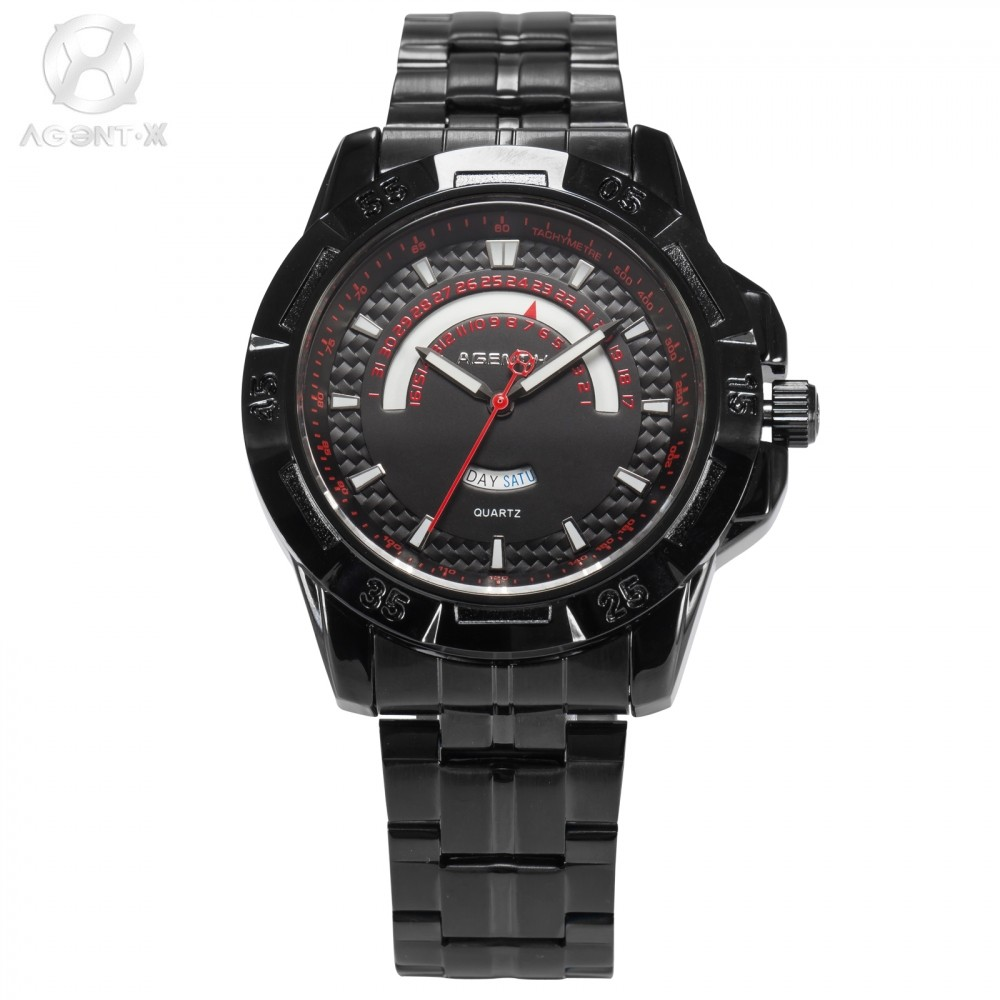 AGENTX Relogio Masculino Black Red Auto Date Display Analog Quartz Clock Casual Dress Wrist Men Full Steel Strap Watch/ AGX102 agentx luxury brand calendar display casual relogio white dial analog black leather strap clock wrist men quartz watch agx116