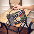 2017 new black and green color shoulder bag pu leather  handbag female tide Messenger Bags Rivet Cartoon Printing  Flap bag