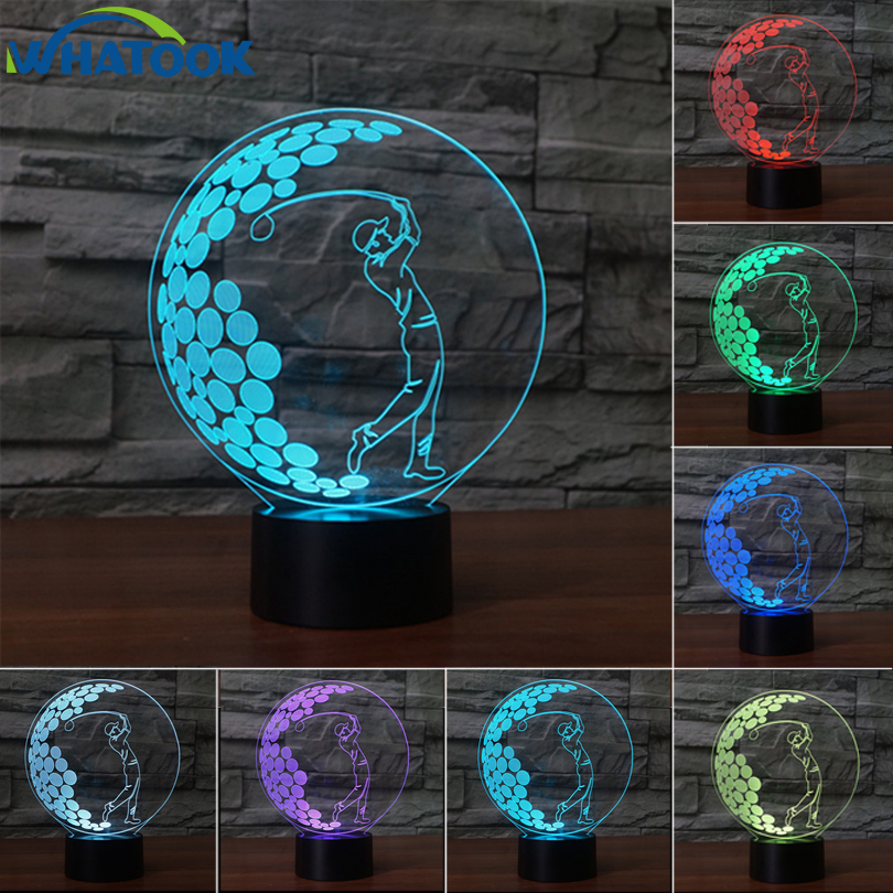 Acrylic LED Table Lamp Golf 3D Illusiom NightLight 7 Color Abajur Led Collected Lava Lamp Kids Gifts Home Decoration Night Light