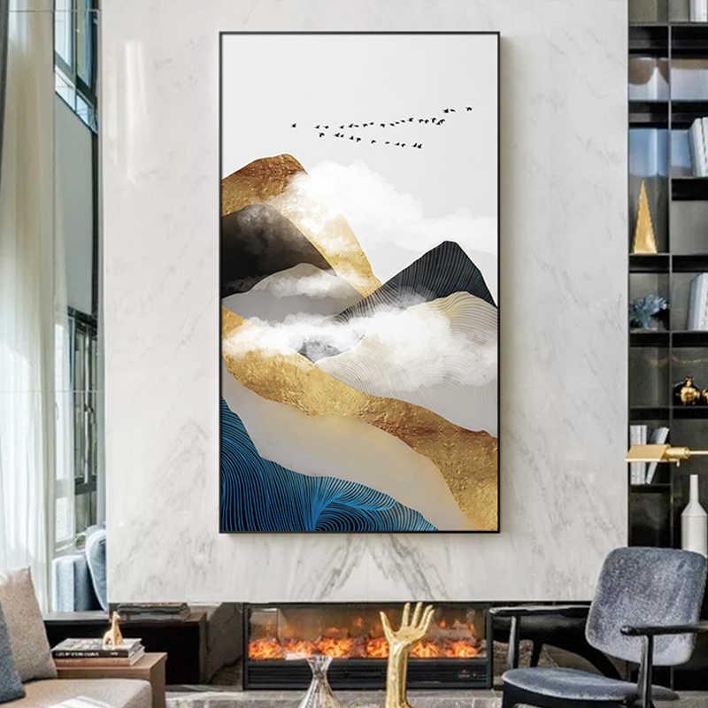 Abstrait Doré Montagne Blanc Nuage Toile Peintures Mur Art