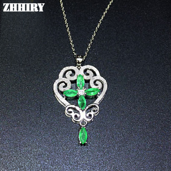 Здесь продается  Green Emerald Pendant Necklace Natural Gemstone genuine Jewelry Solid 925 sterling silver  Ювелирные изделия и часы