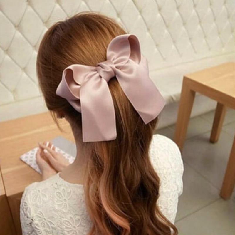 LNRRABC 1pc Women Rubber Bands Tiara Satin Ribbon Bow Hair Band Rope Scrunchie Ponytail Holder Gum for Accessories Elastic