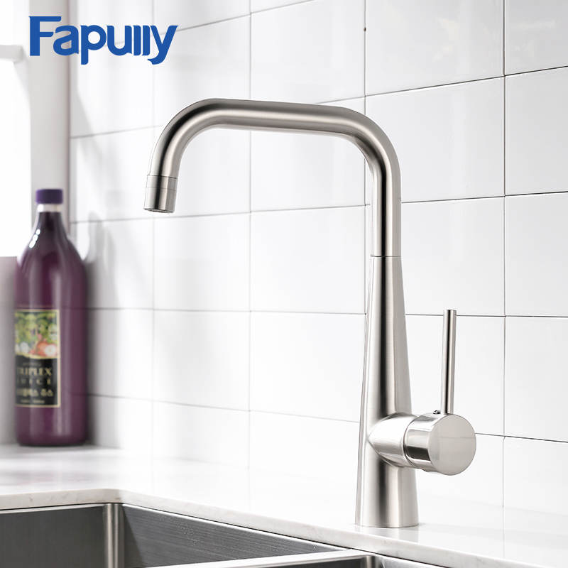 Fapully Kitchen Sink Faucet Single Handle Black Nickel Brass Taps 360 Rotate Swivel Hot Cold 2 Function Mixer Tap Torneira 1012Fapully Kitchen Sink Faucet Single Handle Black Nickel Brass Taps 360 Rotate Swivel Hot Cold 2 Function Mixer Tap Torneira 1012