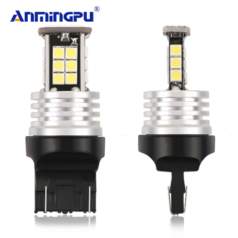 ANMINGPU 2Pcs Signal Lamp W21/5W T20 LED 7443 W21 5W Reverse Backup Car Brake Signal LED Bulb 12V White Yellow Amber Red цена