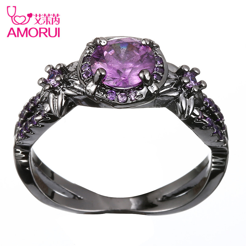 Amorui Women Trendy Wedding Bands Alloy Black Color Love Ring Purple Cubic Zircon Rings For Fashion Party Jewellery In From Jewelry