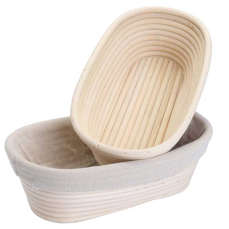 2Pcs 25Cm/10 Inch Bread Basket Rattan Proofing Basket Liner Round Oval Fruit Tray Dough Food Storage Container