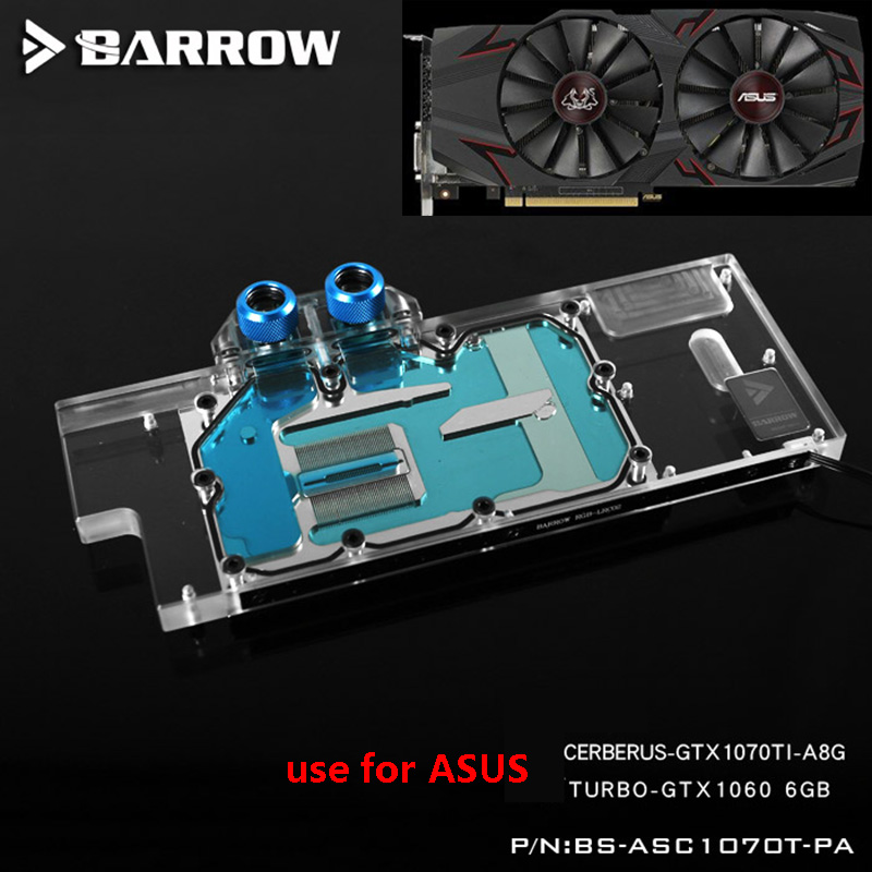 BARROW Graphics Card Block use for ASUS CERBERUS GTX1070TI-A8G / TURBO GTX-1060-6GB GPU Full Cover Copper Radiator RGB to AURA image