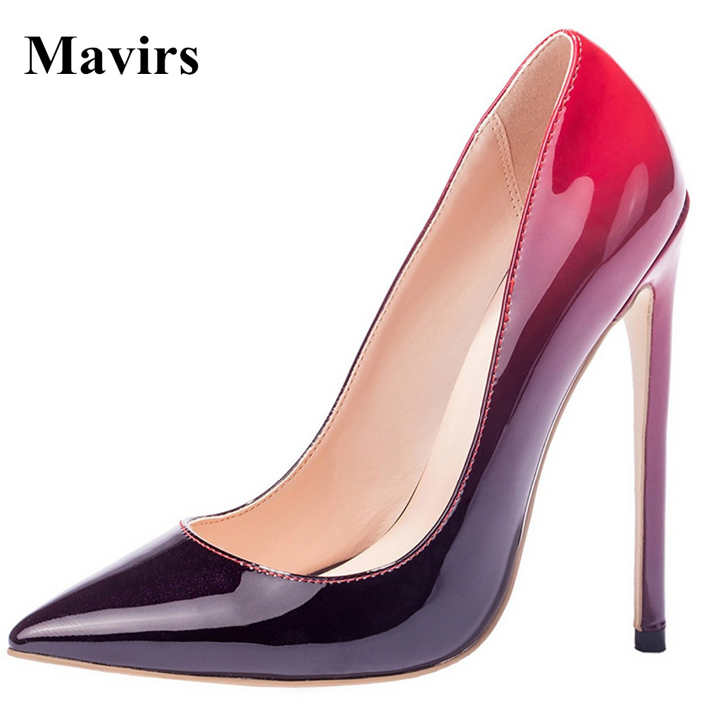 MAVIRS Brand Women Pumps 2018 Patent Pointed Toe 12CM Sexy Extreme High Heels Stiletto Party Shoes Black Gradient Us Size 5-15 odetina 2017 new women 12 cm gradient heels slip on extreme high heel stiletto pumps sexy party shoes pointed toe big size 33 43