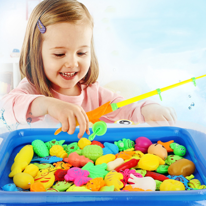20Pcs/set Children Boy girl fishing toy set suit magnetic play water baby toys fish square hot gift for kids