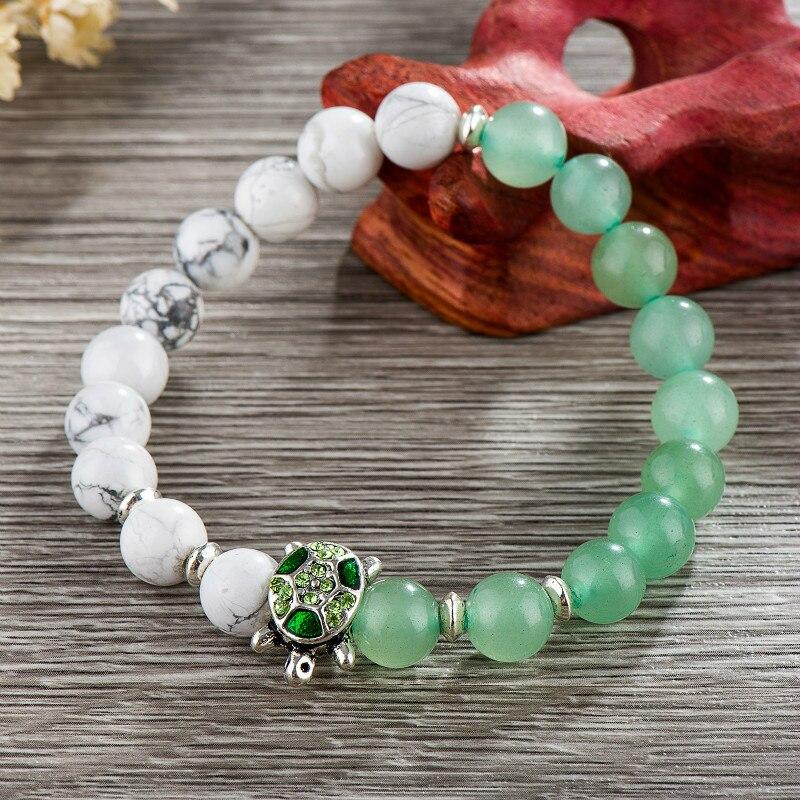 Poshfeel Summer 8Mm Green & White Stone Beaded Bracelets For Women And Men Jewelry Turtle Charm Bracelets & Bangles Mbr170248 5