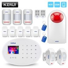 KERUI W20 אלחוטי פורץ 2.4G WiFi GSM אבטחת בית אזעקה מערכת אנדרואיד IOS APP RFID כרטיס לפרק/זרוע LCD מגע מקלדת