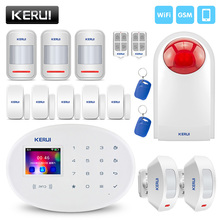 Kerui w20 sem fio do assaltante 2.4g wifi gsm sistema de alarme segurança em casa android ios app rfid cartão desarmar/braço lcd toque teclado