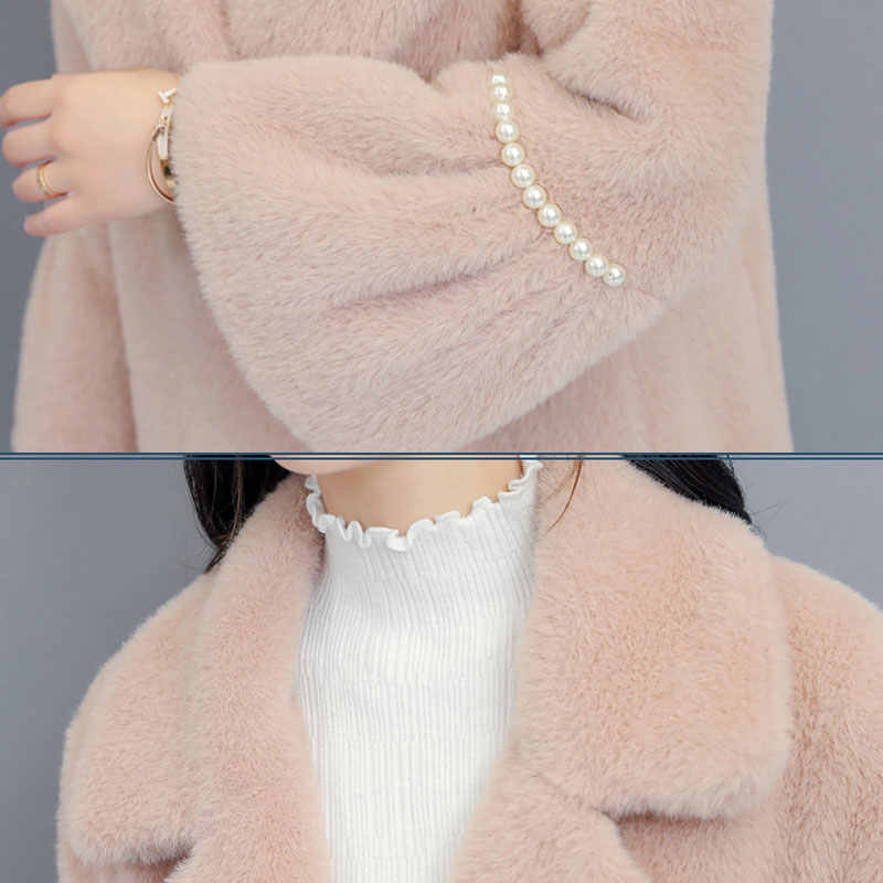 נשים צמר מעיל חורף דביבון כלב פרווה מעילי 2020 חדש דש פרווה מעילים בתוספת גודל נשים בגדי גבירותיי ארוך פרווה מעיל 964