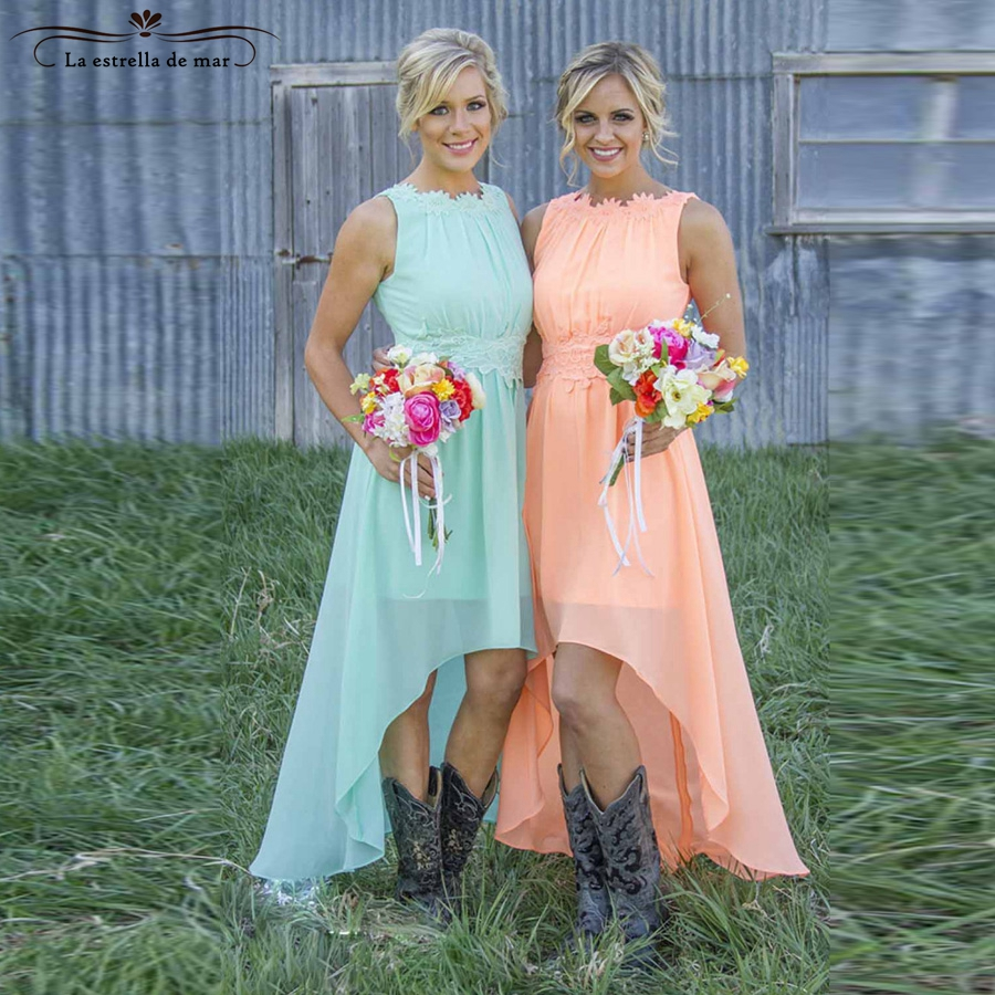 Gowns for bridesmaids with sleeve 2017chiffon peach mint green high ...