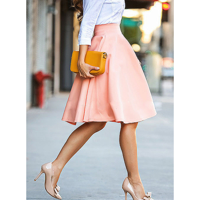 Aliexpress.com : Buy Women Pleated Skirts Elegant Vintage Casual ...