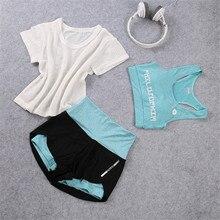 1Set/3Pcs High Waist Yoga Sets Sportswear for Women Sports Bra Gym Fitness Running Sports Shorts Gym Workout Crop Top недорого
