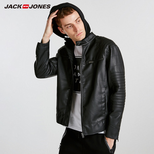 Image 2 - JackJones ผู้ชาย Hooded PU เสื้อหนัง Slim fit Casual Coat Outerwear Biker Hoodies บุรุษ 218321558