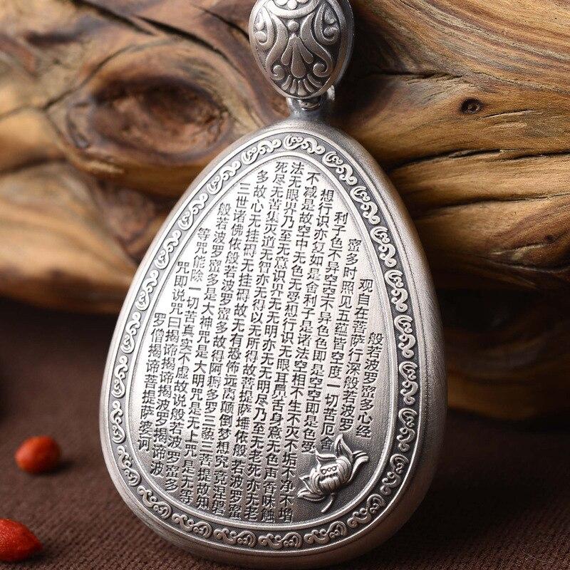 Mots bouddha lotus pieds dos gravé coeur sutra pendentif collier chandail chaîne prix vente directe hommes et femmes - 2