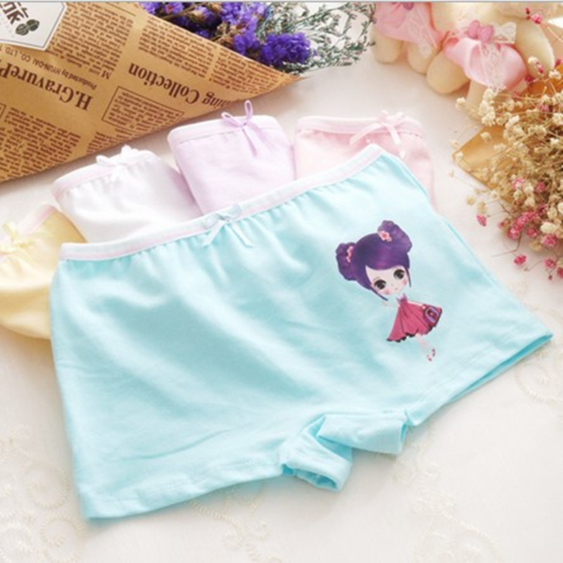 5 Pc/lot Cotton Girls Boxer Kids Underwear Child Underpants Straight Underpants CTNN0116