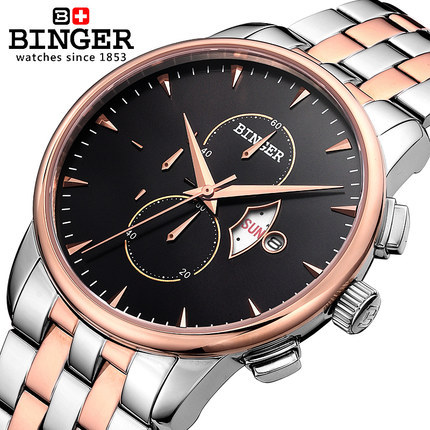 где купить Genuine Binger 6 Hands Date Day 24 Hours Display Watches Stainless Steel Case Gold Silver Wrist Men's Sport Quartz Watch по лучшей цене