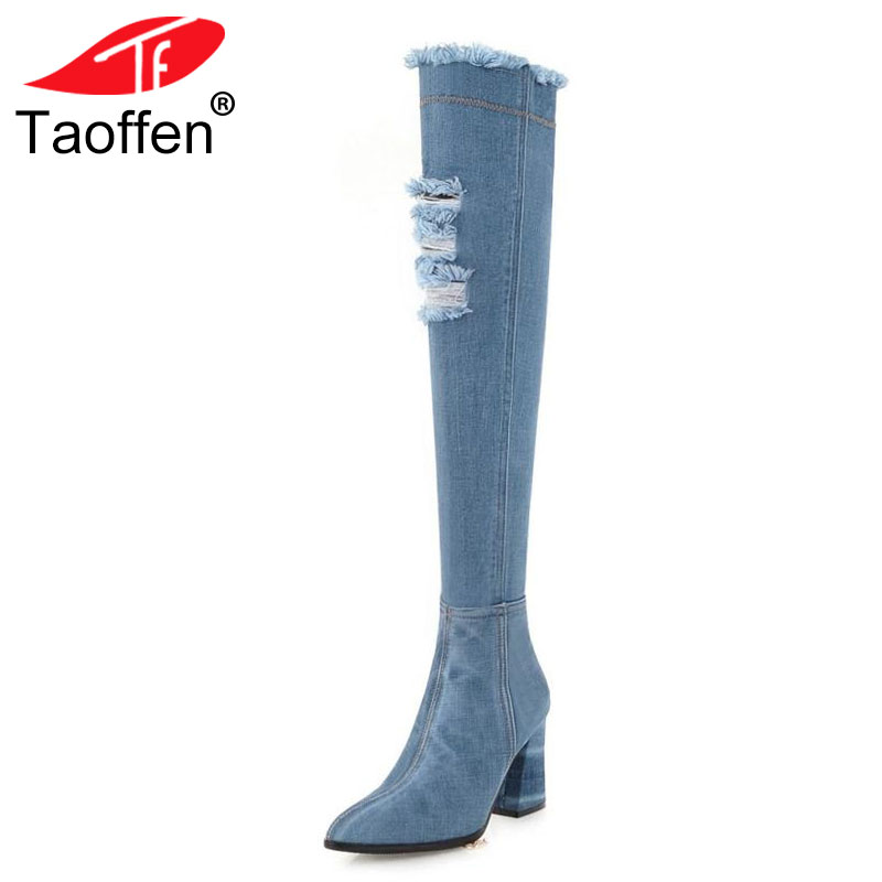 TAOFFEN Size 34-43 Over Knee Woman Boots Denim Warm Plush Fur Winter Shoes Woman High Heel Fashion Pointed Toe Long Boots цена